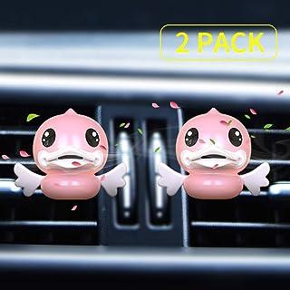 アヒルちゃん車用芳香剤 エアコン吹き出し口用車アロマディフューザー 車用消臭 車内空気清浄 車用フレグランス 2個 XHY (ピンク)