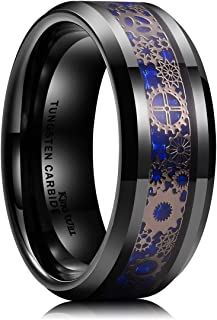 King Will Gentleman Mens 8mm Tungsten Carbide Ring Silver/Gold Gearwheel Black Carbon Fiber Inlay Wedding Band