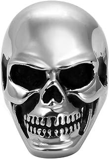 JewelryWe - Anello da uomo con teschio, stile gotico, rock, in acciaio inossidabile, fantasia, colore argento, taglia opzi...