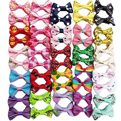 Chenkou Craft Haarschleifen für Hunde, verschiedene Farben, verschiedene Muster, Pflegeprodukte für Haustiere, 50 Stück / 25 Paar.