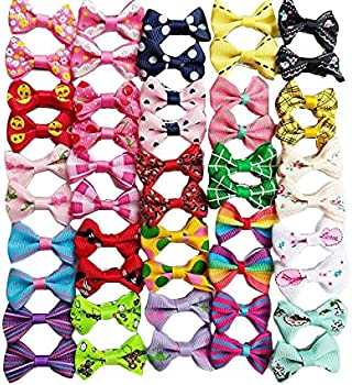 Chenkou Craft 50pcs/25pairs Puppy Yorkie Dog Hair Bows with Clips Pet Grooming Products Mix Colors Varies Patterns Pe...