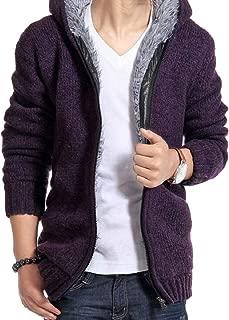 Sodossny-AU Mens Winter Outerwear Thicken Fleece Hoodie Knit Jacket Warm Coats