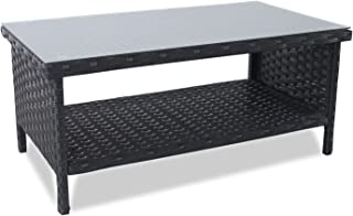 Rattaner Wicker Coffee Table - Outdoor Patio Garden Rattan 2-Layer Table Furniture with Storage, Black