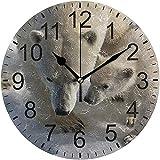 ALLdelete# Wall Clock Oso Polar Mamá y bebé Reloj de Pared de acrílico Redondo Relojes silenciosos para decoración del hogar Sala de Estar Cocina Dormitorio Oficina Escuela