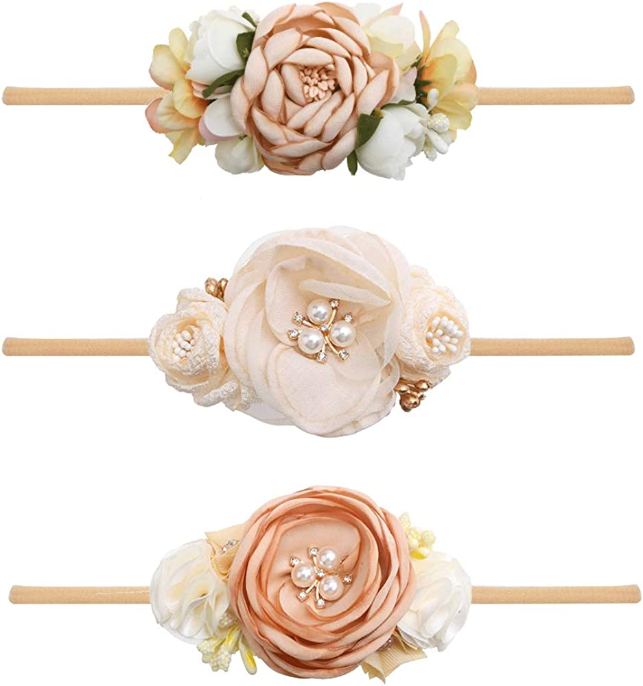 Baby Girl Large discharge sale Floral Year-end annual account Headbands Set - Flower Crown Newborn Toddl 3pcs