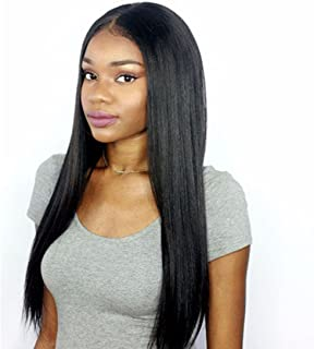 Premier 360 Lace Frontal Wig Light Yaki Straight Brazilian Remy Human Hair Wigs for Women 150% Density 360 Lace Front Wigs Pre Plucked Hairline with Baby Hair 12 inches Natural Color Free Part