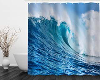 Askaypi Shower Curtains, Ocean Big Wave Blue Sky with Clouds Waterproof Polyester Fabric Bathroom Shower Curtain Set Includes 12 C Ring Hooks (Ocean Wave, 71 in X 71 in)