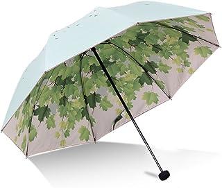 Grönt träd löv hopfällbart rese-solparaply solblock UV-skydd UPF 50+ regnbeständigt kompakt storlek parasoll viks in i han...