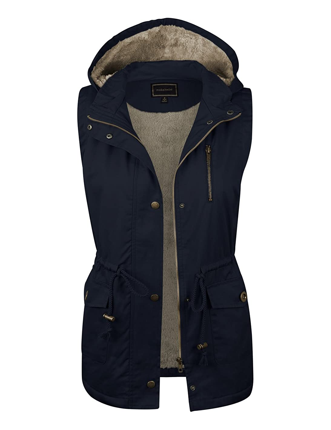 makeitmint Women's Soft Faux Fur Lined Anorak Utility Hooded Jacket Vest [S-3XL] FBA-YJV0018-34NAVY-2XL