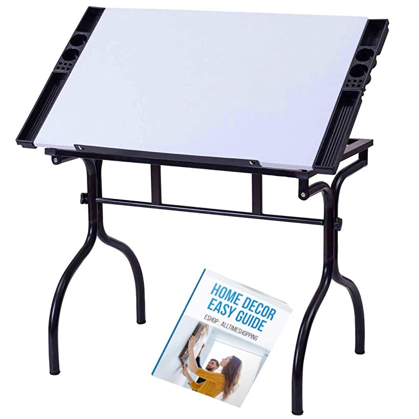 Angled Drawing Board Drafting Desk Art Storage Office Standing Tray Wood Student Side Portable Tilting Unit & Ebook by AllTim3Shopping.