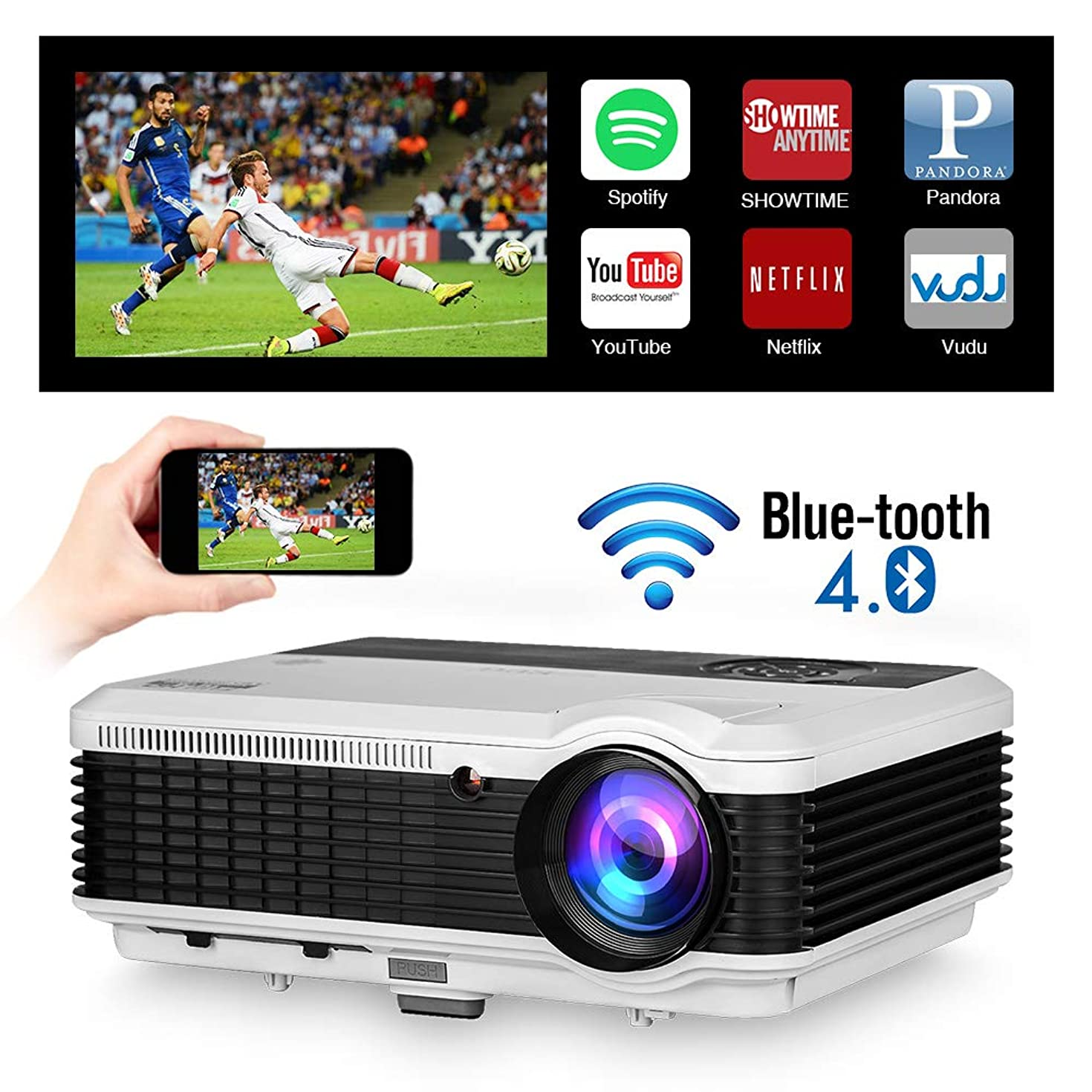 WXGA HD Wifi LED Home Cinema Theater Outdoor Movie Projector with HDMI USB Input Bluetooth LCD Smart Android Wireless Video Projector 1080P 720P for Laptop DVD TV XBOX Smartphone Slides Photo Game