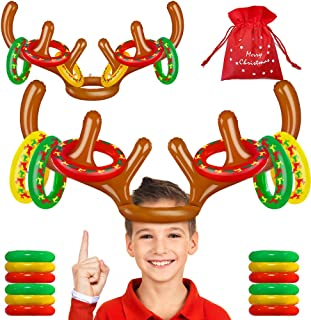 Best MeiGuiSha Inflatable Reindeer, Christmas Games 2 Pack Inflatable Reindeer Antler Ring Toss Game for Christmas Party Review