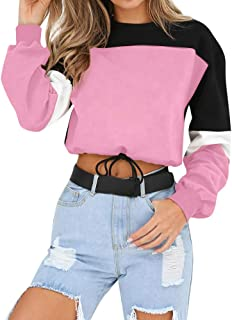 Womens O-Neck Patchwork Splcing Color Pullover Tops Blouse Sweatshirt