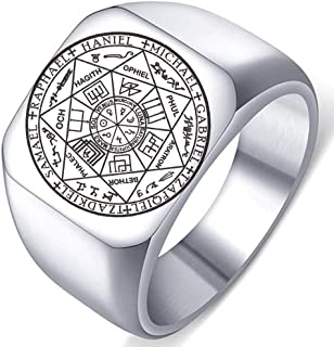 Dacai The Seals of The Seven Archangels Protection Amulet Seal Solomon Kabbalah Mens Womens Stainless Steel Polished Ring