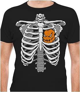 Skeleton Rib Cage Halloween Tshirt for Men Pumpkin Jack O Lantern Heart Costume