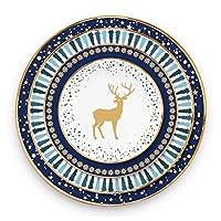 クリスマスの食器用セット、骨中国の板、水の流れゴールドのリムプレート、結婚式のクリスマスの皿セット、磁器の皿、パン板、デザートプレート、ディナープレート、充電器プレート (Color : 4PCS Set)