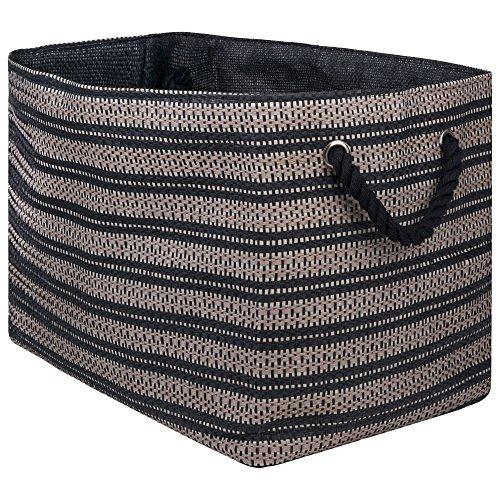 DII Basketweave Woven Paper Laundry & Storage Bin, Large Rectangle, Stone & Black