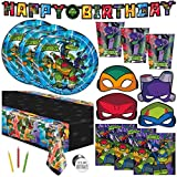 Ninja Turtle Birthday Party Supplies, Teenage Mutant Ninja Turtle Party Supplies for TMNT Party, Serves 16 Guests, For Boys and Girls, With Table Cover, Banner Decoration, Plates and More