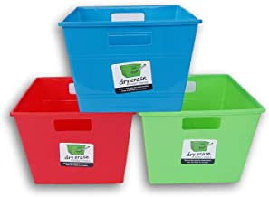 Square Dry-Erase Plastic Locker Bins with Handles - Red, Blue, Green - 10 x 10 x 7 Inches