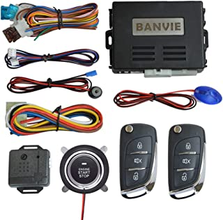 BANVIE ① Car Keyless Entry Security Alarm System + ② Remote Engine Starter + ③ Push to Start Stop Iginition Button