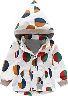Tronet Baby Winter Warm Coat Toddler Boys and Girls Long Sleeve Cartoon Banana Print Plus Velvet Hooded Windproof Rain