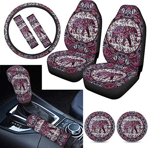Tupalatus Mandala Gifts for Women Ladies 9 Pieces Boho Elephant Auto Front Seat Covers,Gear Shift Knob Cover,Car Handbrake Cover,Seat Belt Shoulder Pads,Car Coaster Steering Wheel Cover,Universal fit