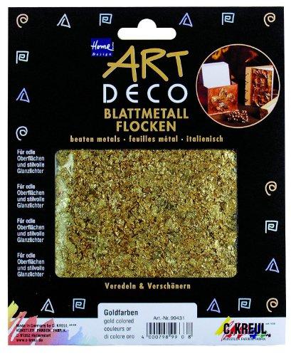 Kreul 99431 - Blattmetallflocken, gold, 2 g für ca. 0,33 qm, zum Veredeln von Holz, Papier, Leinwand, Kartonage, Styropor, Kunststoff, Wachs, Keramik, Porzellan und vielem mehr
