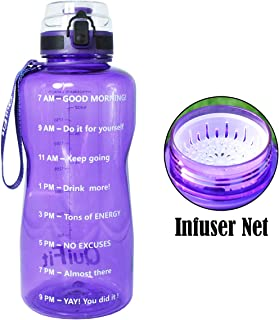 QuiFit Half Gallon Water Bottle with Infuser and Time Marker, Locking Flip-Flop Lid,Large Capacity 64/43/15 oz BPA Free Outdoors Tritan Sport Fitness Water Jug