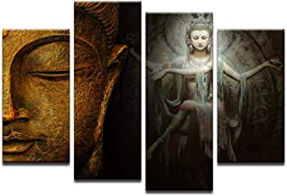 Fenfei Canvas Pictures Home Decor HD Prints 4 Pieces Buddha Meditation Paintings Shiva Nataraja Posters Living Room Wall Art 30x45cm-2p 30x60cm-2p 30x75cm-1p No Frame