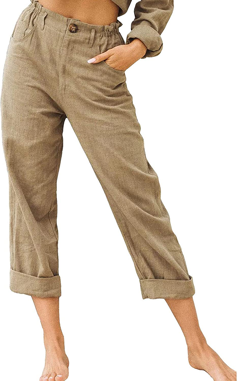 Plus Size Pants for Women Cotton Linen Pants Wide Leg Palazzo Casual Drawstring Loose Elastic Waist Beach Trousers