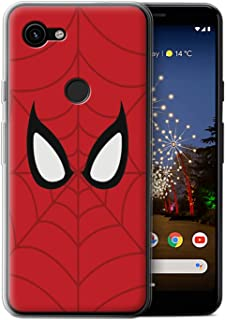 eSwish Gel TPU Phone Case/Cover for Google Pixel 3a XL/Spider-Man Mask Inspired Design/Super Hero Comic Art Collection