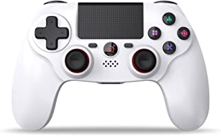 PS4 コントローラー SHINEZONE 無線 Bluetooth接続 振動機能 重力感応 ゲームパット イヤホンジャック ジャイロセンサー PS4対応 充電ケーブル付き 最新バージョン対応(ホワイト)
