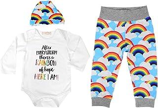 Conjunto de traje de bebé de 3 piezas, traje largo de mangas largas para niños pequeños de Rainbow Boy(90)