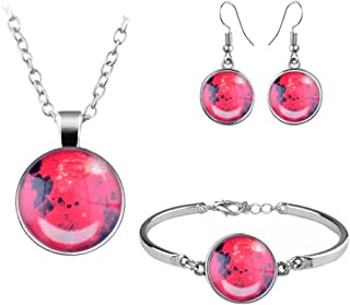 Glowing Moon Glow in The Dark Necklace Earring Bracelet Full Moon Necklace Pendant Glass Cabochon Jewelry Set