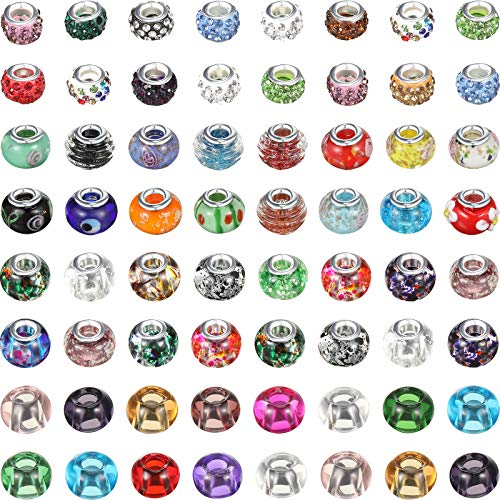 100 Pieces Assorted European Craft Beads Large Hole Glass Craft Beads Mixed Color Rhinestone Charms Beads Crystal Charm Beads for DIY Bracelet Necklace Jewelry Making