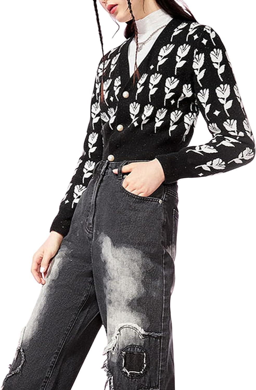 Women's Flower Pattern Cropped Y2K Knitted Cardigan Sweaters Long Sleeve Button Down Open Front Tops Knitwear Coats