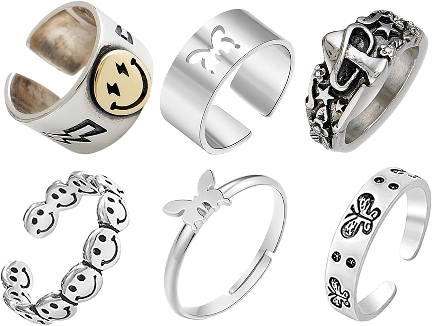 6pcs Smiley Face Ring Butterfly Rings Set Sad Face Ring Chunky Adjustable Butterfly Rings Pack for Women