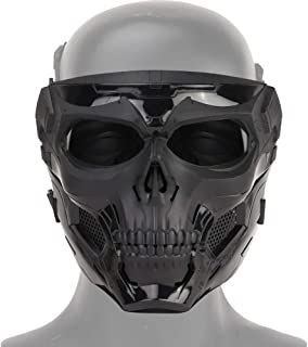 NINAT Airsoft Masks Full Face Skull Tactical Mask with PC Lens Eye Protection for CS Survival Games BBS Gun Shooting Halloween Cosplay Movie Props Scary Masks