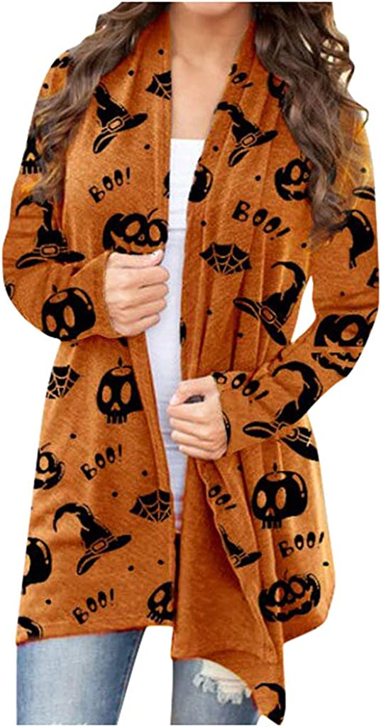 Women Long Sleeve Open Front Plain Knit Cardigan Halloween Print Clothing Loose Sweater Outwear S-5X