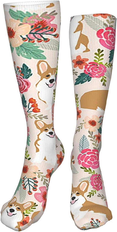 Corgi Florals Women Premium High Socks, Stocking High Leg Warmer Sockings Crew Sock For Daily And Work