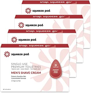 (60 Count) - Squeeze Pod Travel Shaving Cream for Men - 60 Single Use Pods - For Sensitive Skin, Leak Proof, TSA Approved Travel Size Shave Cream Made with Natural Ingredients - For Airlines, Camping, Gym Bags SC4