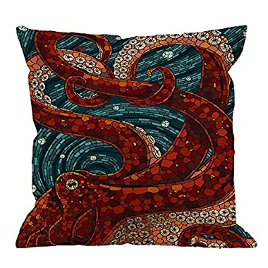 HGOD DESIGNS Kraken Pillow Case, Sea Monster Octopus Cotton Linen Cushion Cover Square Standard Home Decorative Throw Pillow for Men/Women/Kids 18x18 inch Blue Red