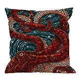 HGOD DESIGNS Kraken Pillow Case, Sea Monster Octopus Cotton Linen Cushion Cover Square Standard Home Decorative Throw Pillow for Men/Women 18x18 inch Blue Red