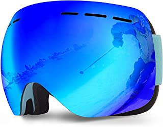AOKNES Anti Fog Ski Snowboard Goggles with UV Protection, Spherical Dual Lens Design-Anti-Slip Detachable Tape