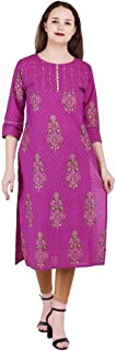 VIHAAN IMPEX Indian Kurtis for women kurta Printed With Sequence And Kantha Work Purple