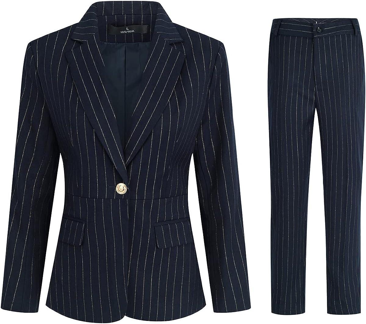 Women's 2 Piece Stripes Business Suit Set Office Lady Blazer Jacket Pant
