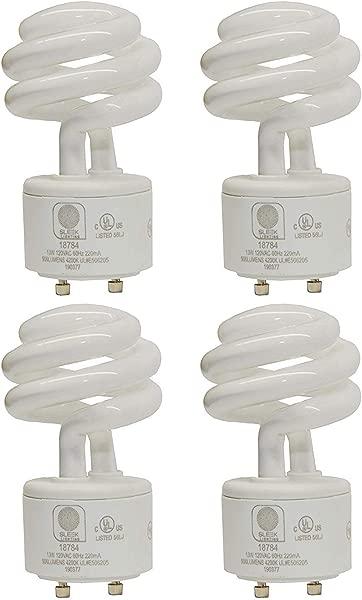 SleekLighting 13Watt GU24 Base 2 Prong Light Bulbs UL Approved 120v 60Hz Mini Twist Lock Spiral Self Ballasted CFL Two Pin Fluorescent Bulbs 4200K 900lm Cool White 4pack 60Watt Equivalent