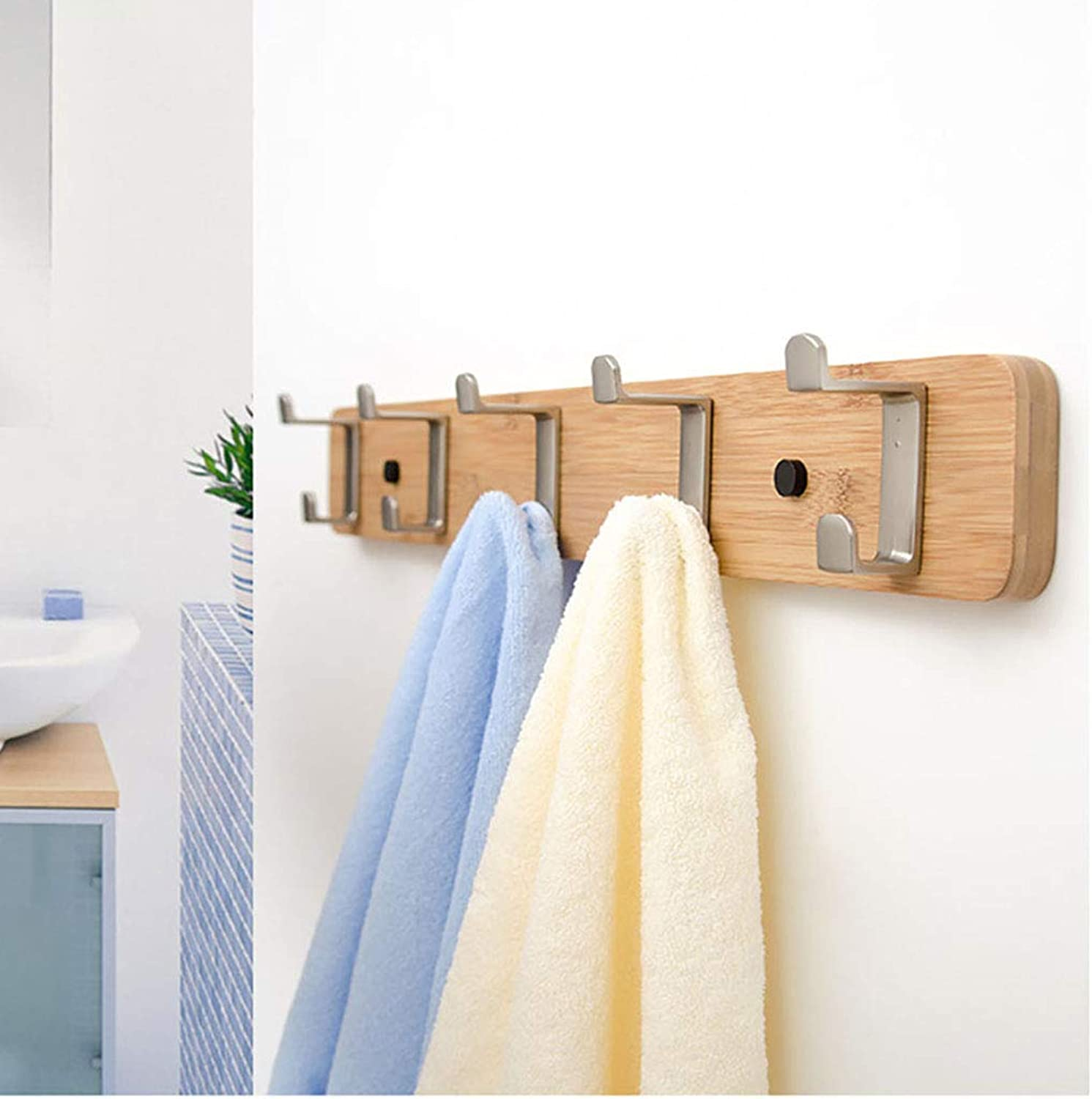 Wall-Mounted Coat Rack Bamboo Wall Storage Shelf with Metal Hooks (Light Brown) (Size   61cm)