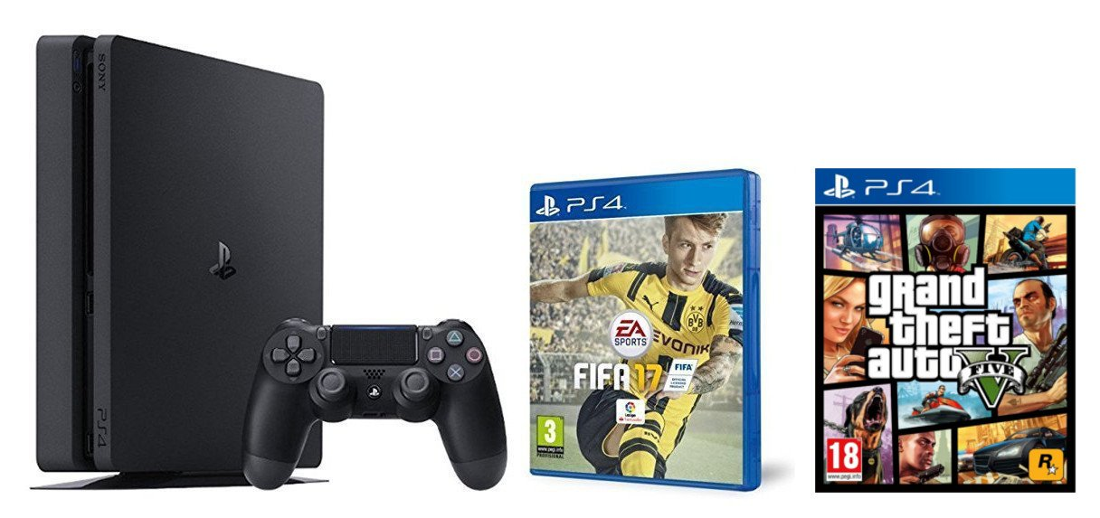 PlayStation 4 Slim (PS4) 1TB - Consola + FIFA 17 + Grand Theft Auto V (GTA V): Amazon.es: Videojuegos
