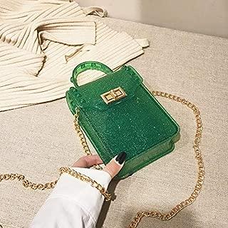 Fashion Single-Shoulder Bags Lock Buckle Jelly Color PU Cellphone Bag Chain Single Shoulder Bag Ladies Handbag Messenger Bag (Black) (Color : Green)